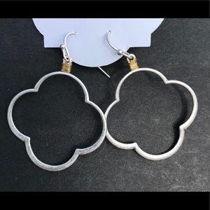 Earrings - silver quatrefoil